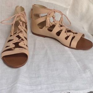 NEW Zara size 10 (size 40) nude gladiator sandals